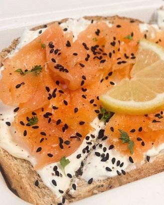 smoked salmon + cream cheese toast close-up